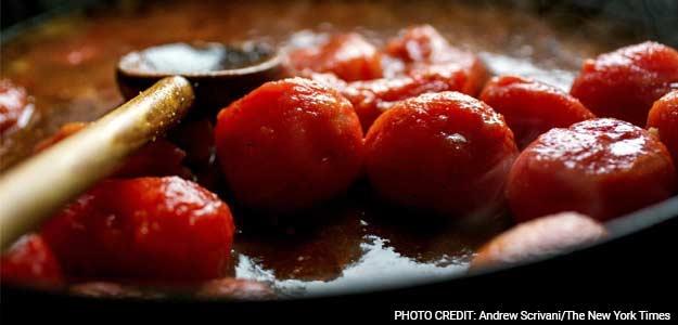 Skillet Chicken Swimming in Tomato Sauce