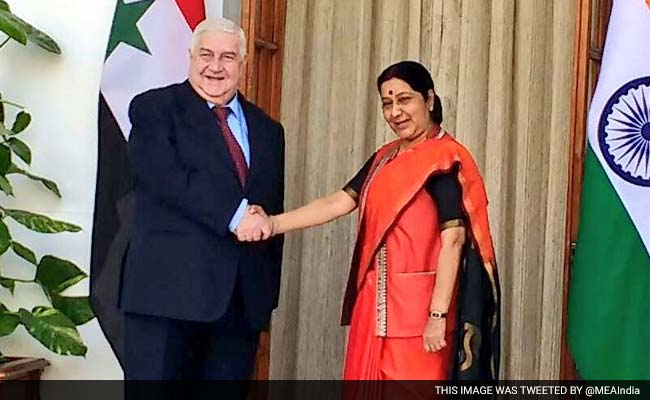External Affairs Minister Sushma Swaraj Meets Syrian Counterpart