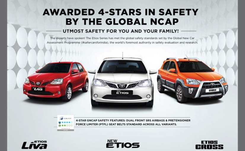 Toyota Etios Awarded 4-Stars in Global NCAP Crash Test