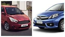 Honda Amaze CVT vs Ford Figo Aspire: Specifications and Features Comparison