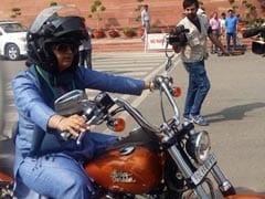 Scene Stealer. On Women's Day, Ranjeet Ranjan Rides Harley To Parliament