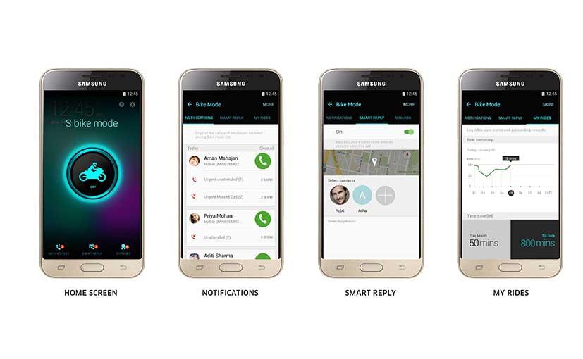 Samsung Galaxy J3 S Bike Mode Interface
