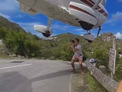 360-Degree Video: Plane Nearly Hits Man On Head While Landing