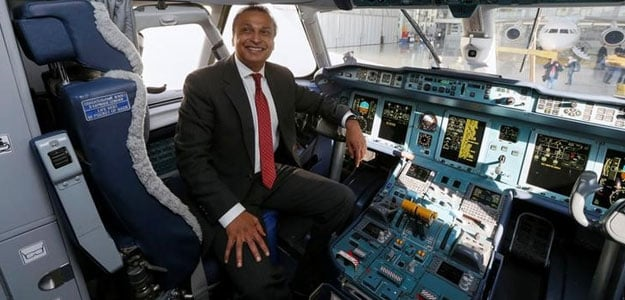 Anil Ambani in the cockpit of An-170 aircraft during a visit to Antonov aircraft plant in Ukraine. (Reuters)