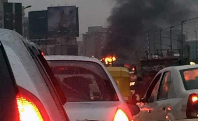 Car Catches Fire In Bengaluru, Causes Major Traffic Jam