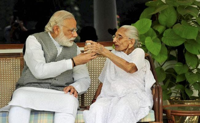 PM Modi Meets His Mother During Gujarat Visit