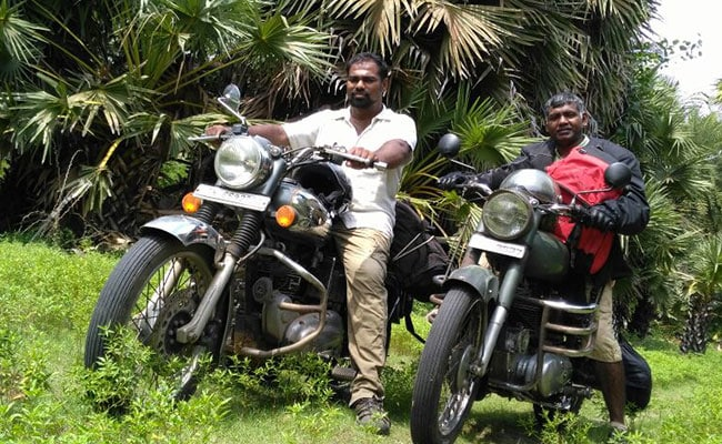 Godson Samuel Right Is Riding His 1964 Royal Enfield Motorcycle