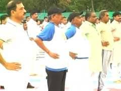 Manohar Parrikar Performs Yoga, Meets Family Of Arunachal Braveheart