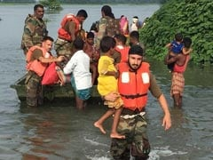 Army Jawans On Rescue Mission In Flood-Hit Assam, Bihar