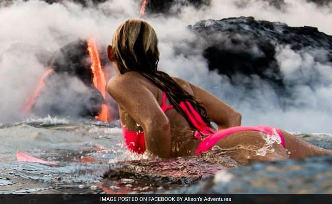 She Surfed Next To Erupting Volcano In Hawaii. The Pics Are Incredible
