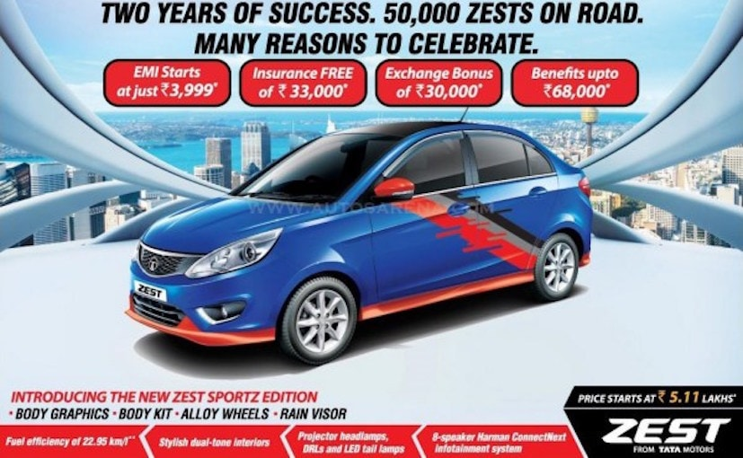 Tata Zest Sportz Edition Launched In India With ₹ 20,000 Worth Accessories