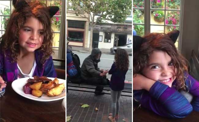 Little Girl Giving Her Food To A Homeless Man Is Winning The Internet