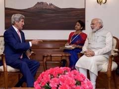 अमेरिकी विदेश मंत्री जॉन केरी से बोले पीएम मोदी, 'लगता है कि बारिश ने आपका स्वागत गर्मजोशी से किया '