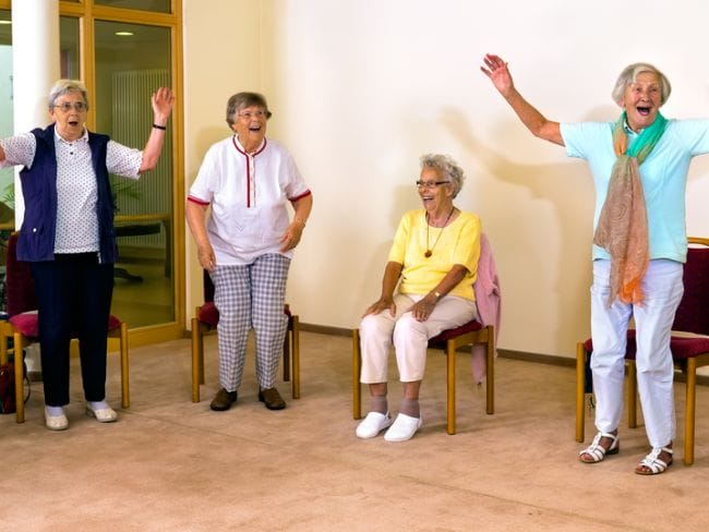 laughing exercising keep the old people healthy
