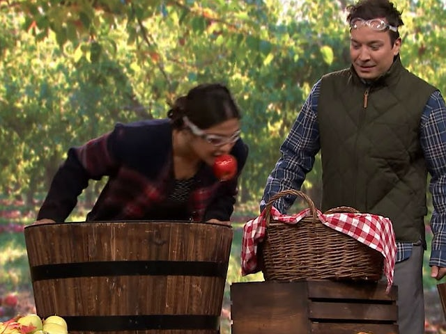 Priyanka Chopra And Jimmy Fallon Bob For Apples. It's Funny, Really