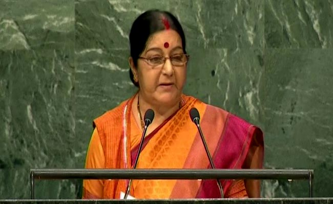 Sushma Swaraj in United States  sacks down Pakistan over terrorism