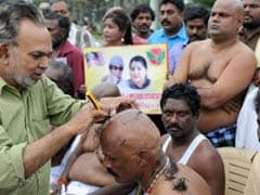 AIADMK Members Shaved Heads At Jayalalithaa Burial Site