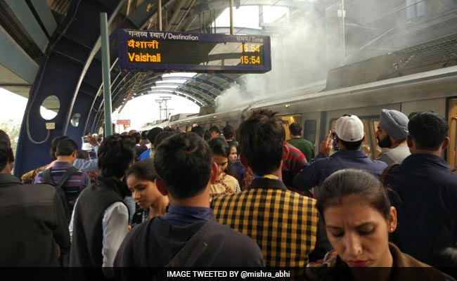 Metro Train Catches Fire At Patel Nagar Metro Station In Delhi