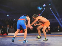 Baba Ramdev Goes Head To Head vs Olympic Medallist in Pro Wrestling League Promotional Bout