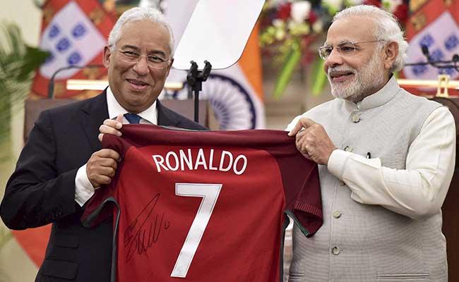 39e289b9dbf PM Narendra Modi Gifted Signed Cristiano Ronaldo Jersey By Portugese Premier