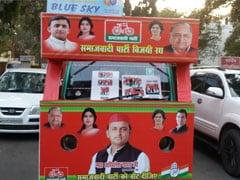 सपा-कांग्रेस की ज्वॉइंट कैंपेन वैन पर अखिलेश-डिंपल-मुलायम के साथ राहुल-प्रियंका की तस्वीर भी