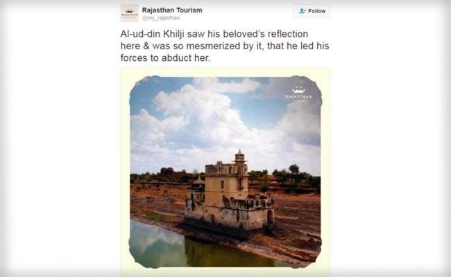 tweet of rajasthan tourism on rani padmawati