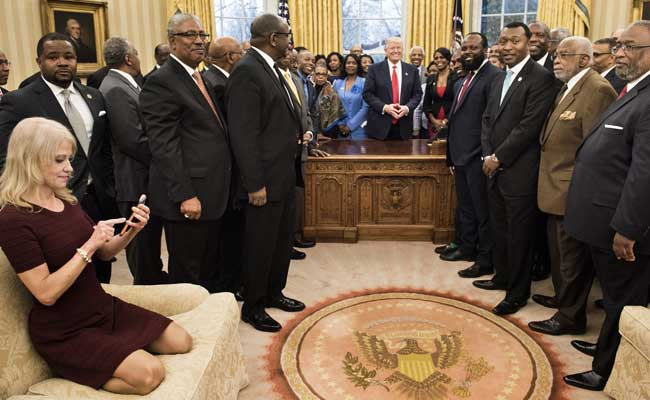 Donald Trump Aide Kneels On White House Sofa With Shoes On. Twitter Explodes