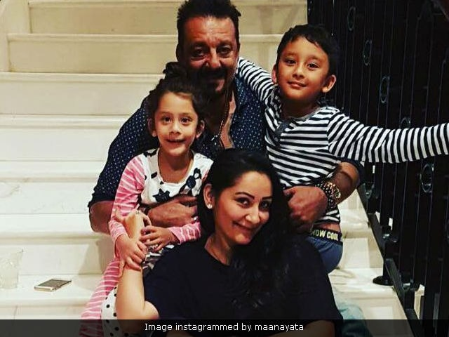 Sanjay Dutt's Scooter Ride With Wife Maanyata And Twins Is Really Cute