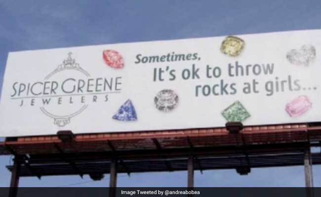 'Sometimes, It's Ok To Throw Rocks At Girls': Jewellery Store Billboard Stirs Outrage