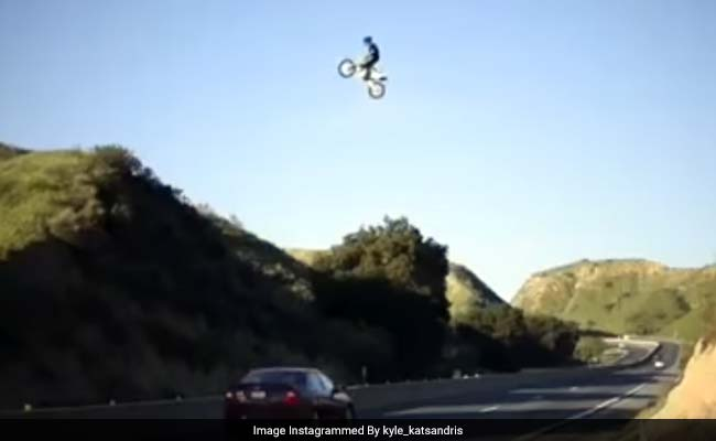 Viral Video Shows Biker Soar Across California Highway In Dangerous Stunt