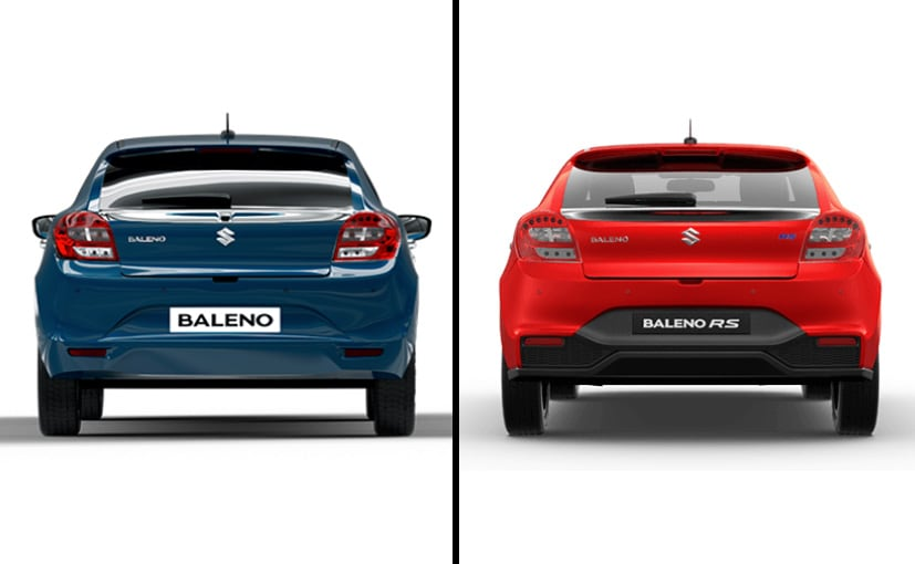 maruti suzuki baleno vs baleno rs rear