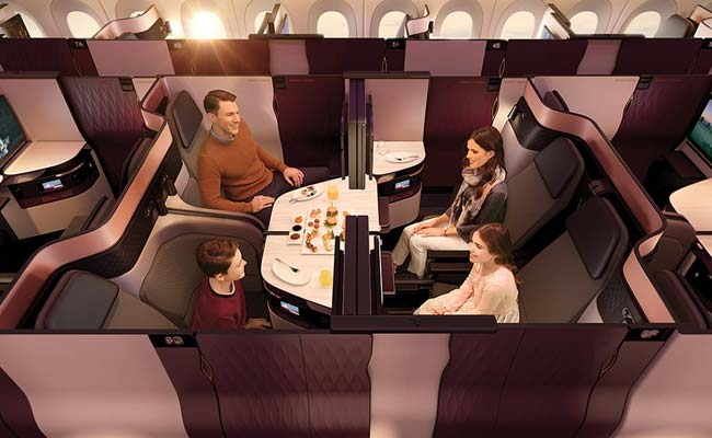 qatar airways double beds