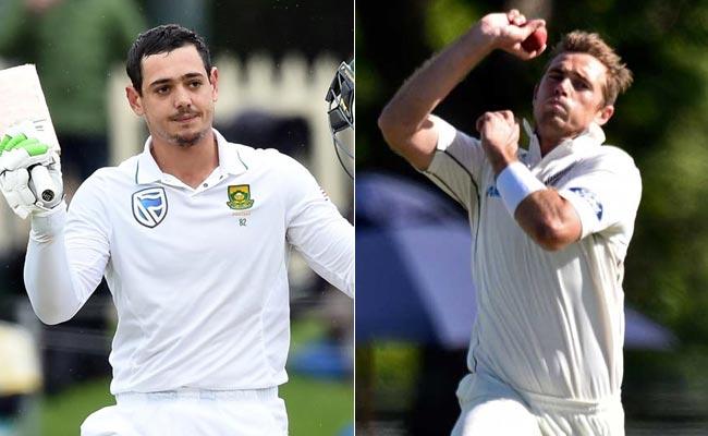 टिम साउथी कीवी टीम से बाहर, दक्षिण अफ्रीकी डीकॉक का भी तीसरे टेस्ट में खेलना संदिग्ध