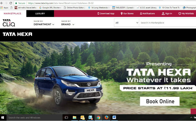 tata hexa can now be booked online