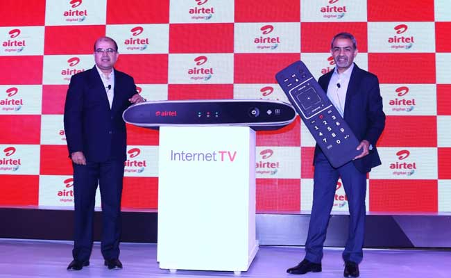 S Sriram and Sunil Taldar of Bharti Airtel  unveil the Airtel Internet TV.