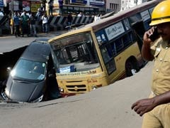 Chennai Road Caves In, Takes Down Bus, Car