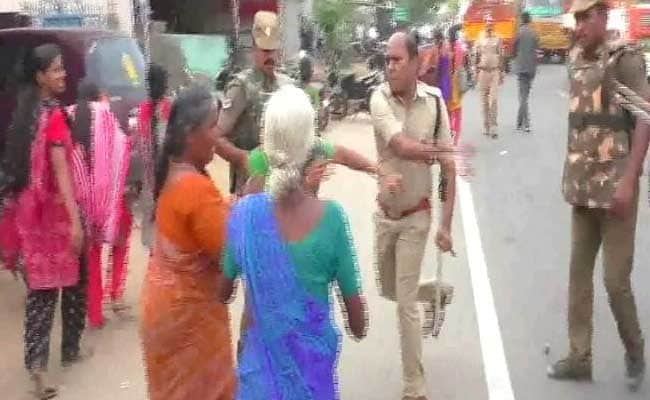 Cop Caught On Camera Slapping Woman Protester In Tamil Nadu's Tirupur