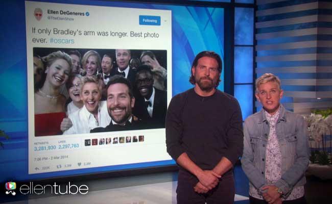 With Oscar Selfie Tweet In Jeopardy, Ellen DeGeneres Asks For Bradley Cooper's Help