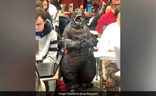 This Professor Brought Her Son To Class Dressed As Godzilla. He's Viral