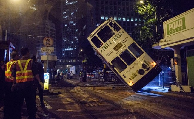 Driver Arrested After Hong Kong Tram Flips Over, Injuring 14