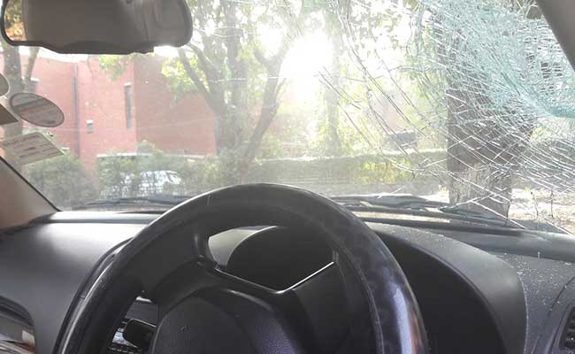 jnu professor car vandalised