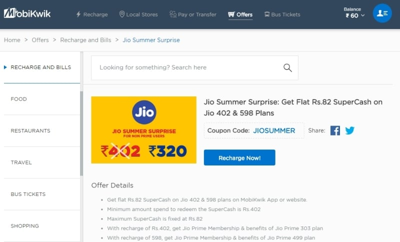 mobikwik jio summer surprise