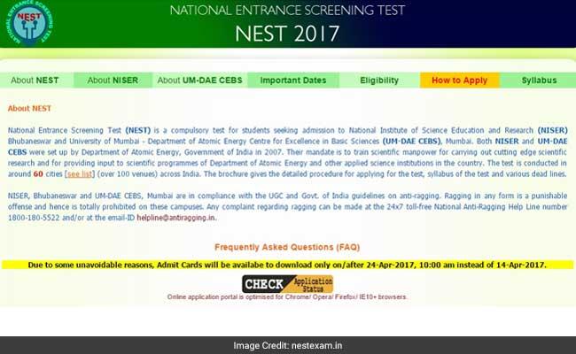 nest admit card notice