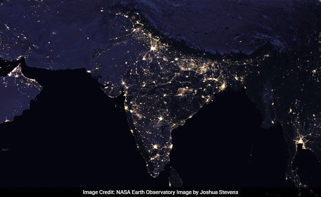 night lights nasa india at night