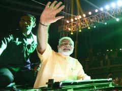 PM Narendra Modi Leads BJP Roadshow In Gujarat's Surat With 10,000 Bikers, Disco Lights