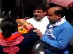AAP's Sanjay Singh Slapped By Woman Party Worker During Roadshow