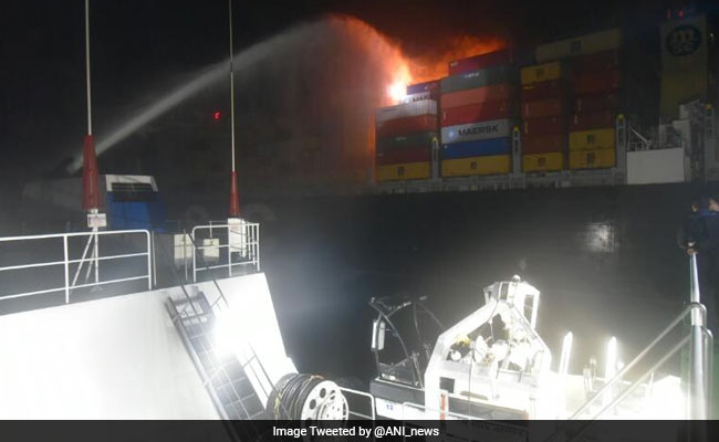 ship fire off sri lanka