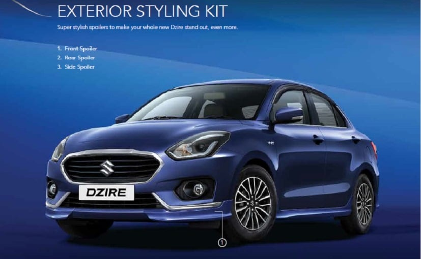 Maruti Suzuki Dzire Gets New Accessory And Styling Packages - Car body graphics for altomaruti dzire exteriorsinteriors genuine accessories
