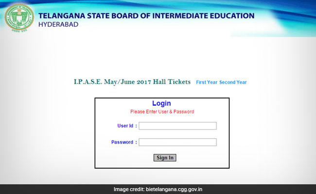 bie telangana ipase hall ticket 2017