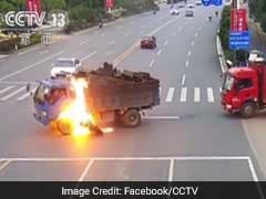 Biker Miraculously Survives After Crashing Into Truck Which Burst Into Flames